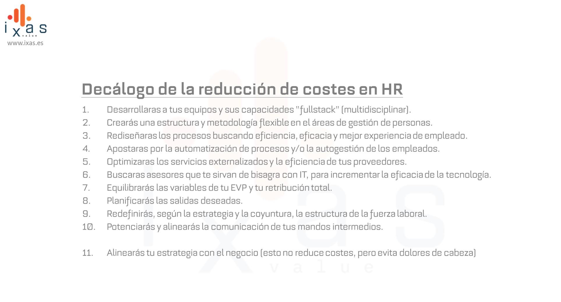 Decalogo Reduccion de Costes RRHH